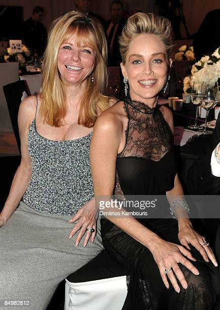 WEST HOLLYWOOD CA FEBRUARY 22 Model Cheryl Tiegs and actress Sharon Stone attend the 17th Annual Elton John AIDS Foundation Oscar party held at the...