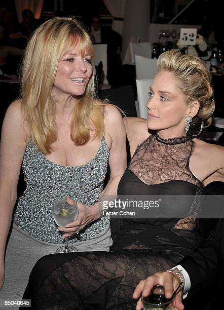 Model Cheryl Tiegs and actress Sharon Stone attend the 17th Annual Elton John AIDS Foundation Oscar party held at the Pacific Design Center on...