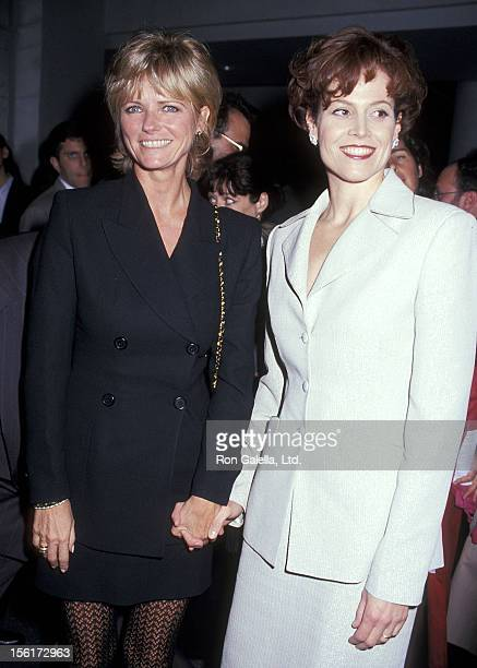 Model Cheryl Tiegs and actress Sigourney Weaver attend the 'Death and the Maiden' New York City Premiere on December 5 1994 at Sony Theatres Lincoln...