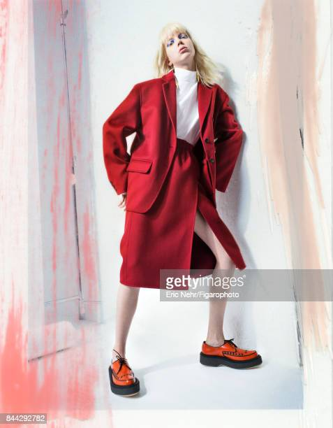 Model poses at a fashion shoot for Madame Figaro on June 8 2017 in Paris France Jacket shirt and skirt earrings shoes PUBLISHED IMAGE CREDIT MUST...