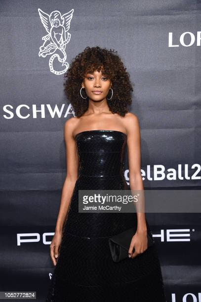 Model Cheyenne Maya Carty attends the 2018 Angel Ball hosted by Gabrielle's Angel Foundation at Cipriani Wall Street on October 22 2018 in New York...