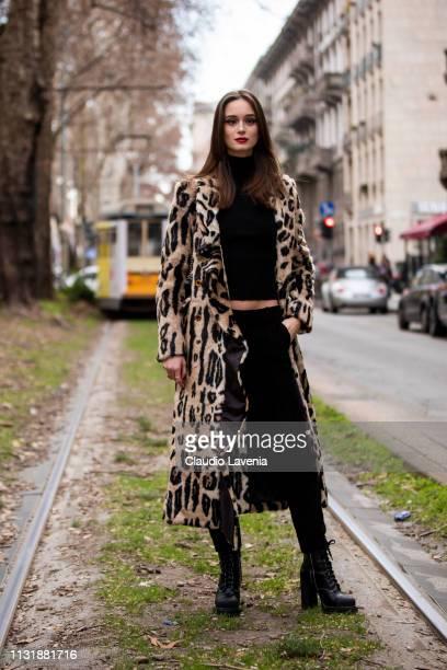 Model Chiara Corridori wearing animal print fur coat is seen outside Dolce Gabbana on Day 5 Milan Fashion Week Autumn/Winter 2019/20 on February 24...