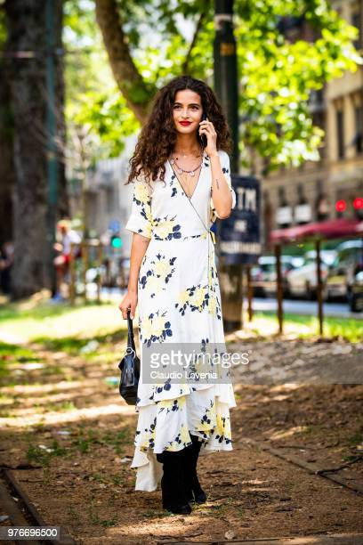 Model Chiara Scelsi wearing Dolce Gabbana dress is seen in the streets of Milan after the Dolce Gabbana show during Milan Men's Fashion Week...