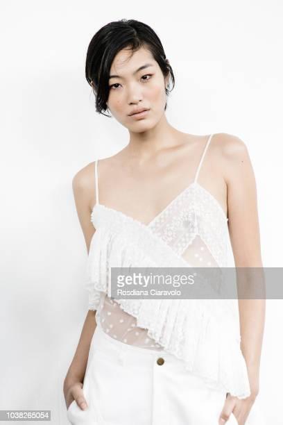 Model Chiharu Okunugi is seen backstage ahead of the Philosophy Di Lorenzo Serafini show during Milan Fashion Week Spring/Summer 2019 on September 22...