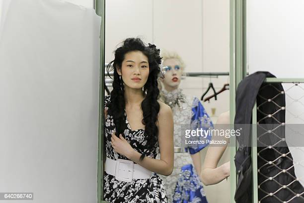 Model Chiharu Okunugi poses Backstage prior the Jean Paul Gaultier Fashion Week on January 25, 2017 in Paris, France.