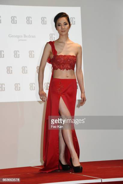 Model Chihiro Niuya walks the runway during Georges Bedran Fashion Show at Espace Batignolles on April 1 2017 in Paris France