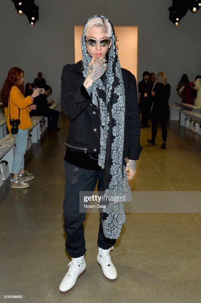 Model Chris Lavish attends the All Comes From Nothing x COOME FW18 show at Gallery II at Spring Studios on February 14, 2018 in New York City.