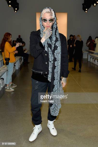 Model Chris Lavish attends the All Comes From Nothing x COOME FW18 show at Gallery II at Spring Studios on February 14 2018 in New York City