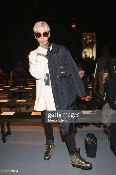 Model Chris Lavish attends the Gypsy Sport fashion show at Pier 59 on February 11 2018 in New York City