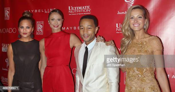 Model Chrissy Teigen actress Stacy Keibler singer/songwriter John Legend and model Petra Nemcova attend the 2014 Shape Men's Fitness Super Bowl Party...