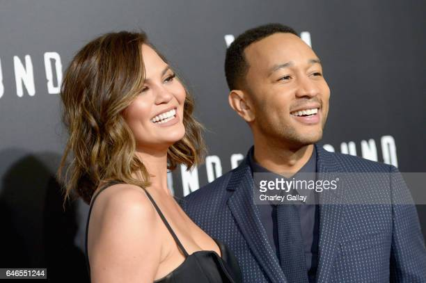Model Chrissy Teigen and actor/singer/executive producer John Legend attend WGN America's Underground Season Two Premiere Screening at Regency...