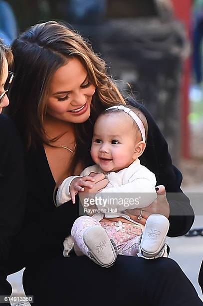 Model Chrissy Teigen and daughter Luna Stephens are seen October 14 2016 in New York City