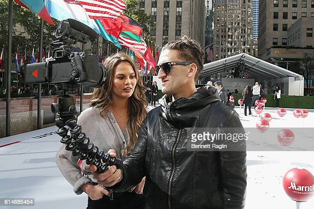 Model Chrissy Teigen and filmmaker Casey Neistat attend as Marriott International celebrates Global Travel Day at Rockefeller Center in NYC on...