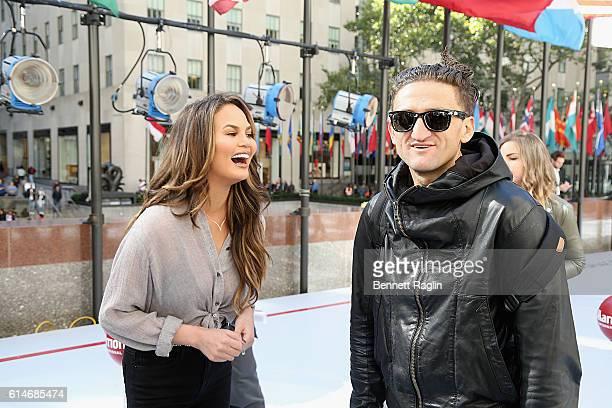 Model Chrissy Teigen and filmmaker Casey Neistat attend as Marriott International celebrates Global Travel Day at Rockefeller Center in NYC on...