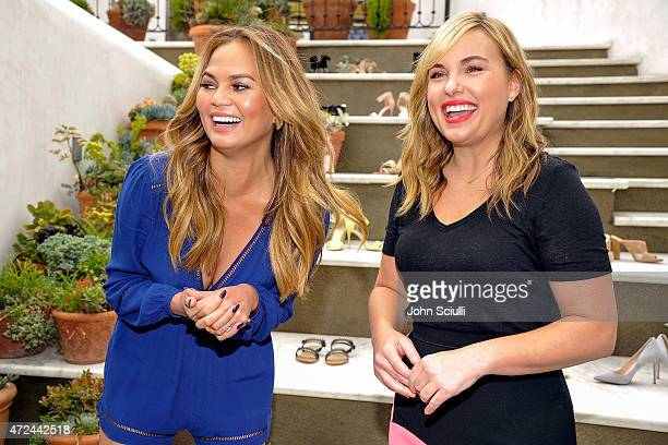 Model Chrissy Teigen and Hillary Kerr attend RAYE shoe launch event hosted by Chrissy Teigen and Hillary Kerr held At Ysabel on May 7 2015 in West...
