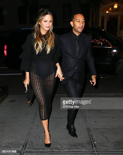 Model Chrissy Teigen and John Legend are seen on May 14 2016 in New York City