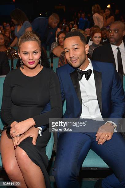 Model Chrissy Teigen and John Legend attend the 47th NAACP Image Awards presented by TV One at Pasadena Civic Auditorium on February 5 2016 in...