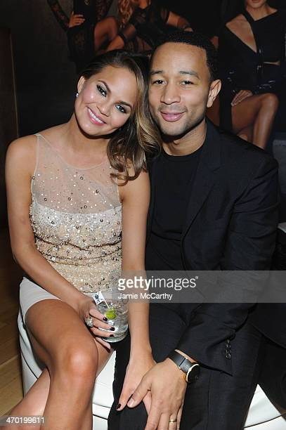 Model Chrissy Teigen and John Legend attend the Sports Illustrated Swimsuit 50 Years of Swim in NYC Celebration at the Sports Illustrated Swimsuit...