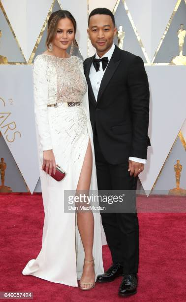 Model Chrissy Teigen and musician John Legend arrive at the 89th Annual Academy Awards at Hollywood Highland Center on February 26 2017 in Hollywood...