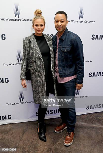 Model Chrissy Teigen and musician John Legend attend Samsung Studio and Harvey Weinstein Host Annual Weinstein Sundance Bowl Football Party During...