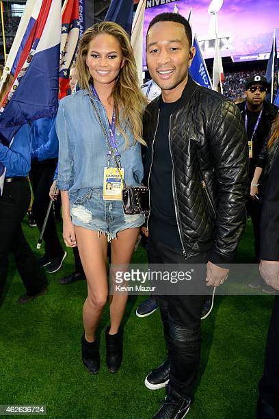 Model Chrissy Teigen and musician John Legend attend Super Bowl XLIX at University of Phoenix Stadium on February 1 2015 in Glendale Arizona