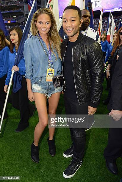 Model Chrissy Teigen and musician John Legend attend Super Bowl XLIX at University of Phoenix Stadium on February 1 2015 in Glendale Arizona