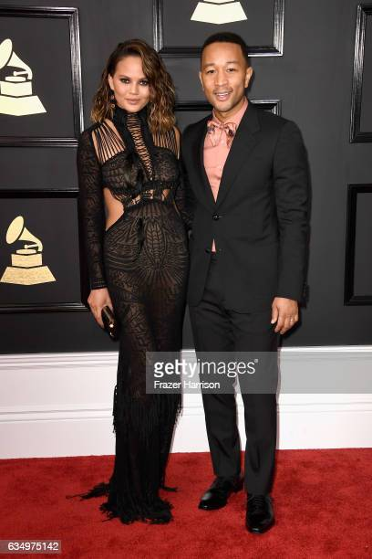 Model Chrissy Teigen and musician John Legend attend The 59th GRAMMY Awards at STAPLES Center on February 12 2017 in Los Angeles California