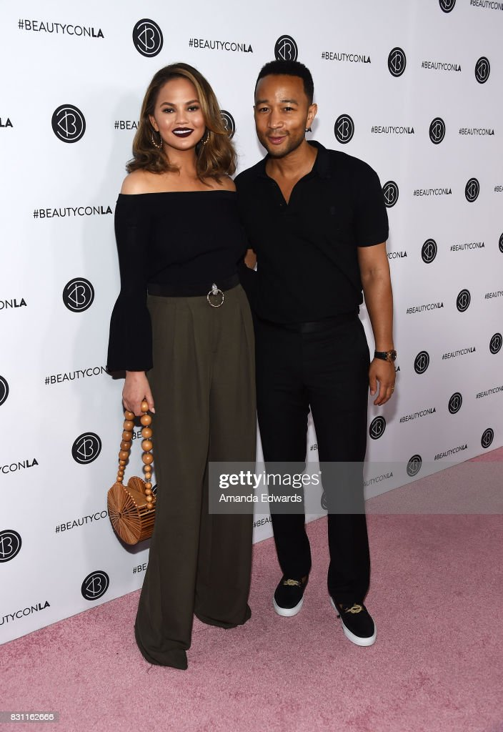 Model Chrissy Teigen (L) and musician John Legend attend the 5th Annual Beautycon Festival Los Angeles at the Los Angeles Convention Center on August 13, 2017 in Los Angeles, California.
