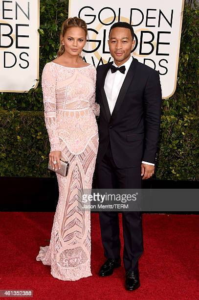 Model Chrissy Teigen and musician John Legend attend the 72nd Annual Golden Globe Awards at The Beverly Hilton Hotel on January 11 2015 in Beverly...