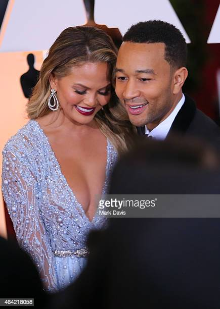 Model Chrissy Teigen and musician John Legend attend the 87th Annual Academy Awards at Hollywood & Highland Center on February 22, 2015 in Hollywood,...