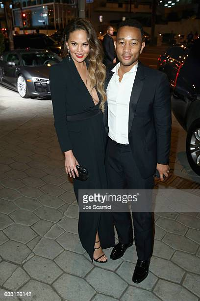 Model Chrissy Teigen and musician John Legend attend The Weinstein Company Netflix's SAG 2017 After Party presented by Audi at Sunset Tower Hotel on...