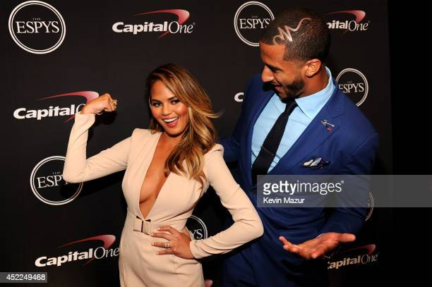 Model Chrissy Teigen and NFL player Colin Kaepernick attend The 2014 ESPY Awards at Nokia Theatre LA Live on July 16 2014 in Los Angeles California
