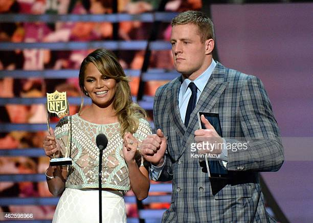 Model Chrissy Teigen and NFL player JJ Watt speak onstage during 4th Annual NFL Honors at Phoenix Convention Center on January 31 2015 in Phoenix...