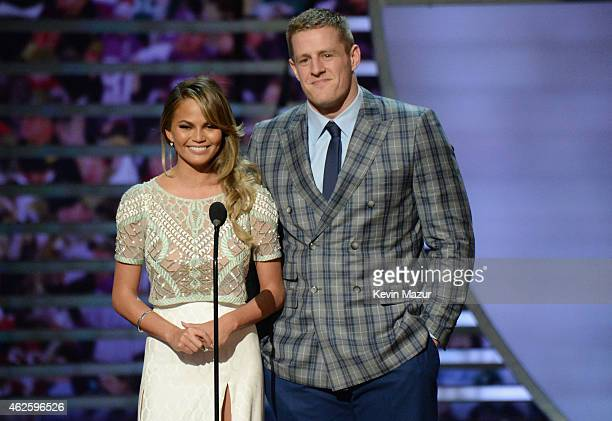 Model Chrissy Teigen and NFL player JJ Watt speak onstage during the 4th Annual NFL Honors at Phoenix Convention Center on January 31 2015 in Phoenix...