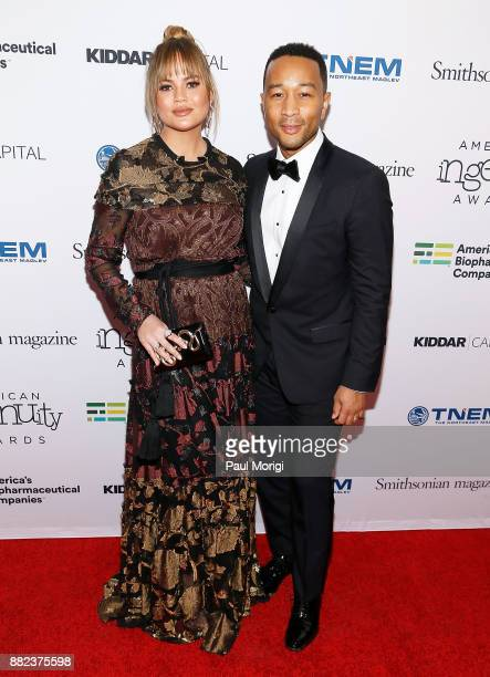 Model Chrissy Teigen and Performing Arts honoree John Legend attend the Smithsonian Magazine's 2017 American Ingenuity Awards at the National...