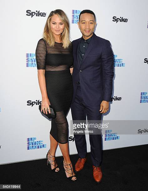 Model Chrissy Teigen and recording artist John Legend arrive at the FYC Event Spike's 'Lip Sync Battle' at Saban Media Center on June 14 2016 in...