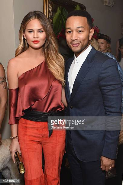 Model Chrissy Teigen and recording artist John Legend attend CFDA/Vogue Fashion Fund Show and Tea at Chateau Marmont on October 20 2015 in Los...