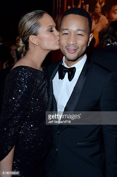 Model Chrissy Teigen and recording artist John Legend attend the 2016 Vanity Fair Oscar Party Hosted By Graydon Carter at the Wallis Annenberg Center...