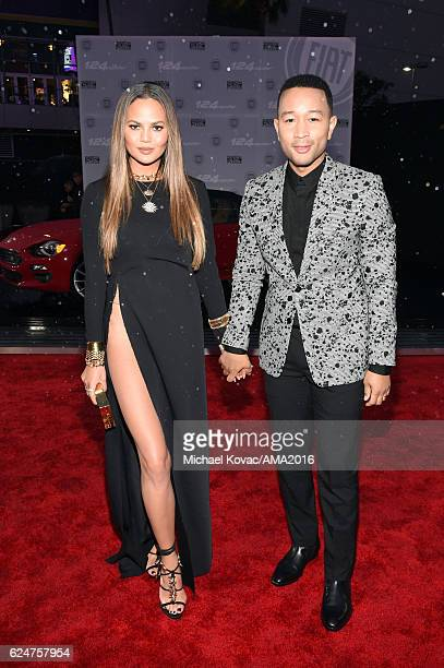 Model Chrissy Teigen and Recording artist John Legend attend the 2016 American Music Awards Red Carpet Arrivals sponsored by FIAT 124 Spider at...