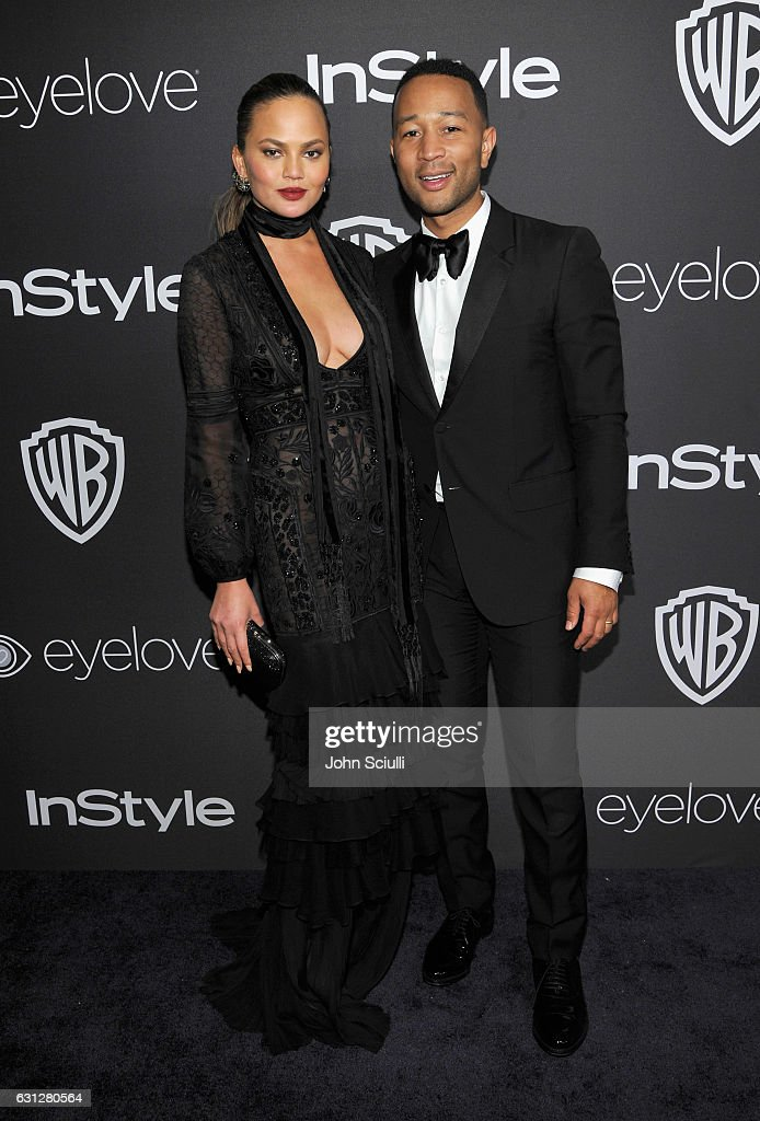 Model Chrissy Teigen (L) and recording artist John Legend attend The 2017 InStyle and Warner Bros. 73rd Annual Golden Globe Awards Post-Party at The Beverly Hilton Hotel on January 8, 2017 in Beverly Hills, California.