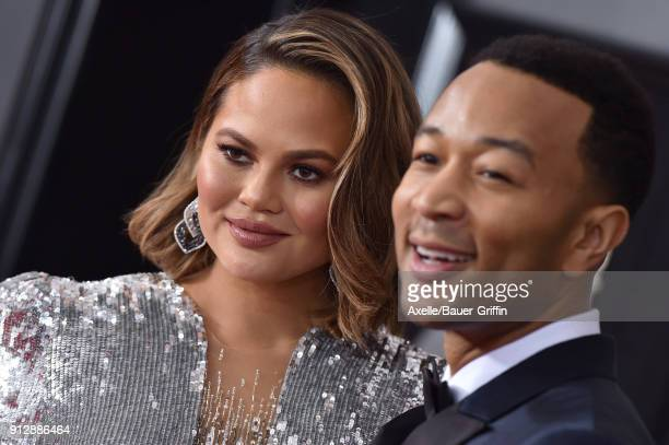 Model Chrissy Teigen and recording artist John Legend attend the 60th Annual GRAMMY Awards at Madison Square Garden on January 28 2018 in New York...