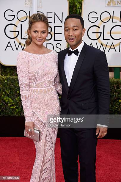 Model Chrissy Teigen and recording artist John Legend attend the 72nd Annual Golden Globe Awards at The Beverly Hilton Hotel on January 11, 2015 in...
