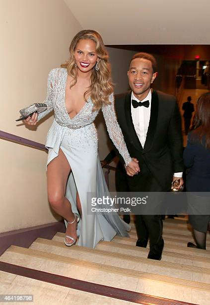 Model Chrissy Teigen and recording artist John Legend attend the 87th Annual Academy Awards at Dolby Theatre on February 22 2015 in Hollywood...