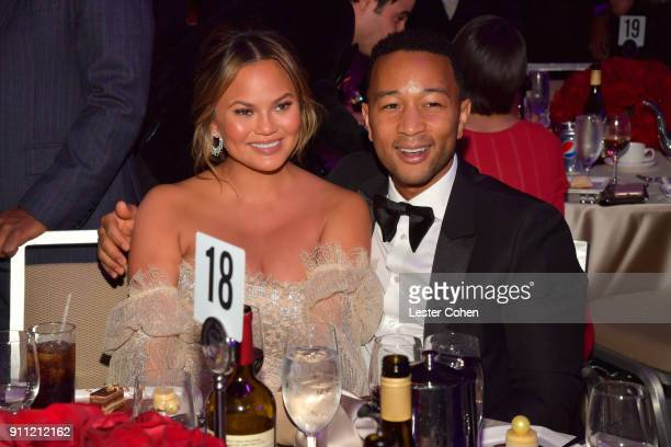 Model Chrissy Teigen and recording artist John Legend attend the Clive Davis and Recording Academy PreGRAMMY Gala and GRAMMY Salute to Industry Icons...
