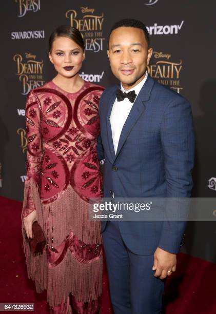 Model Chrissy Teigen and singer John Legend arrive for the world premiere of Disney's liveaction 'Beauty and the Beast' at the El Capitan Theatre in...