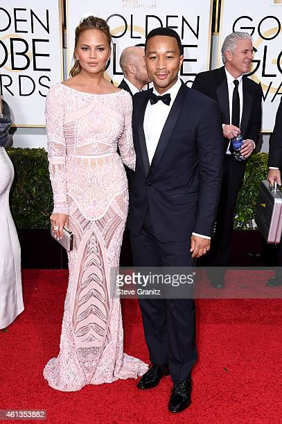Model Chrissy Teigen and singer John Legend attend the 72nd Annual Golden Globe Awards at The Beverly Hilton Hotel on January 11 2015 in Beverly...