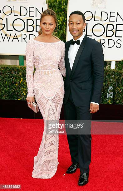 Model Chrissy Teigen and singer John Legend attend the 72nd Annual Golden Globe Awards at The Beverly Hilton Hotel on January 11, 2015 in Beverly...