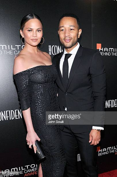 Model Chrissy Teigen and singer John Legend attend the Hamilton Behind The Camera Awards presented by Los Angeles Confidential Magazine at Exchange...