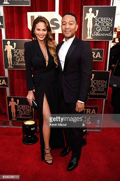 Model Chrissy Teigen and singer/actor John Legend attend The 23rd Annual Screen Actors Guild Awards at The Shrine Auditorium on January 29 2017 in...
