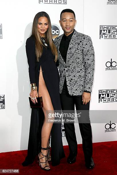 Model Chrissy Teigen and singersongwriter John Legend attend the 2016 American Music Awards at Microsoft Theater on November 20 2016 in Los Angeles...